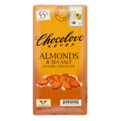CHOCOLOVE ALMONDS & SEA SALT IN DARK CHOCOLATE 3.2 OZ BAR