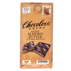 CHOCOLOVE SALTED ALMOND BUTTER IN DARK CHOCOLATE 3.2 OZ BAR