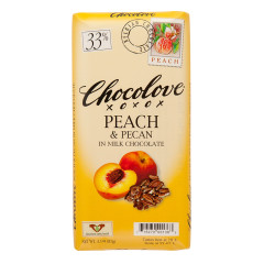 CHOCOLOVE PEACH & PECAN IN MILK CHOCOLATE 3.2 OZ BAR