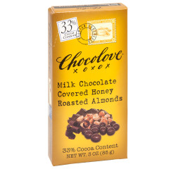 CHOCOLOVE MILK CHOCOLATE COVERED HONEY ROASTED ALMONDS 3 OZ