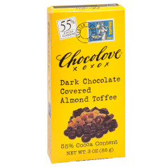 CHOCOLOVE DARK CHOCOLATE COVERED ALMOND TOFFEE 3 OZ