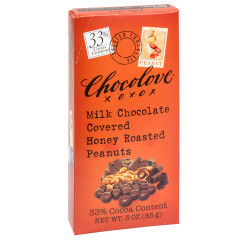 CHOCOLOVE MILK CHOCOLATE COVERED HONEY ROASTED PEANUTS 3 OZ
