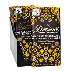 DIVINE 70% DARK CHOCOLATE WITH GINGER & ORANGE 3.5 OZ BAR