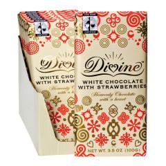 DIVINE WHITE CHOCOLATE WITH STRAWBERRIES 3.5 OZ BAR