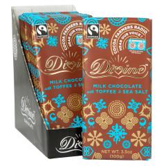DIVINE MILK CHOCOLATE TOFFEE AND SEA SALT 3.5 OZ BAR