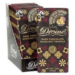 DIVINE DARK CHOCOLATE HAZELNUT TRUFFLE 3.5 OZ BAR