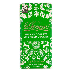 DIVINE MILK CHOCOLATE WITH SPICED COOKIES 3.5 OZ BAR