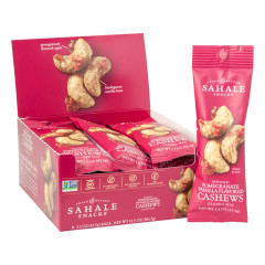 SAHALE POMEGRANATE VANILLA FLAVORED CASHEWS 1.5 OZ BAG