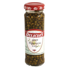 DELICIAS GREEN PEPPERCORNS IN BRINE 3.5 OZ JAR
