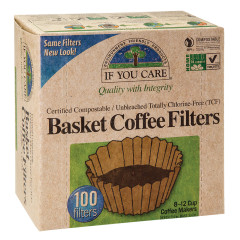 "IF YOU CARE 8 "" UNBLEACHED BASKET COFFEE FILTERS 100 CT BOX"