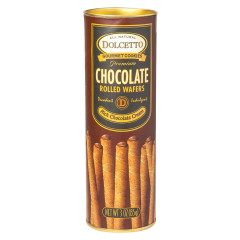 DOLCETTO CHOCOLATE ROLLED WAFERS 3 OZ TIN