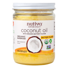 NUTIVA BUTTERY FLAVORED COCONUT OIL 14 OZ JAR