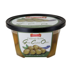 CASTELLA CALIFORNIA SICILIAN GREEN CRACKED OLIVES 12 OZ DELI CUP