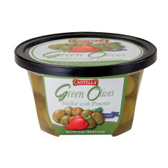 CASTELLA GREEN OLIVES STUFFED WITH PIMENTO 12 OZ DELI CUP