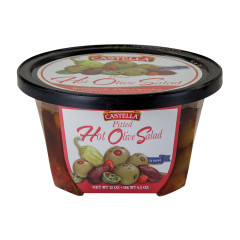 CASTELLA PITTED HOT OLIVE SALAD 12 OZ DELI CUP