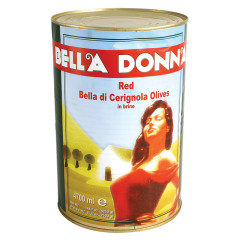 BELLA DONNA RED CERIGNOLA OLIVES CAN