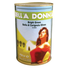 BELLA DONNA CERIGNOLA BRIGHT GREEN OLIVES 5.5 LB CAN