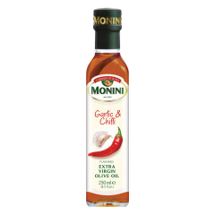 MONINI GARLIC AND CHILI FLAVORED EXTRA VIRGIN OLIVE OIL 250 ML BOTTLE