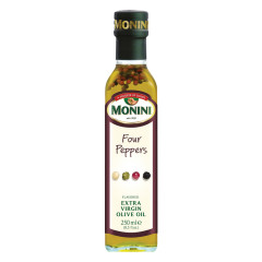 MONINI FOUR PEPPERS FLAVORED EXTRA VIRGIN OLIVE OIL 250 ML BOTTLE