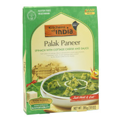 KITCHENS OF INDIA PALAK PANEER SPINACH WITH COTTAGE CHEESE AND SAUCE 10 OZ