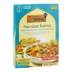 KITCHENS OF INDIA NAVRATN KORMA MIXED VEGETABLE CURRY WITH COTTAGE CHEESE 10 OZ