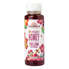 MADHAVA ORGANIC PURE & RAW HONEY 12 OZ BOTTLE
