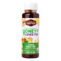 MADHAVA ORGANIC LEMON GINGER HONEY 12 OZ BOTTLE