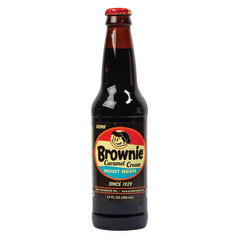 BROWNIE CARAMEL ROOT BEER SODA 4 PK 12 OZ BOTTLE