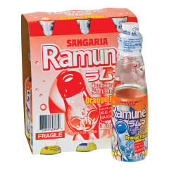 SANGARIA RAMUNE ORANGE SODA 6 PK 6.76 OZ BOTTLES