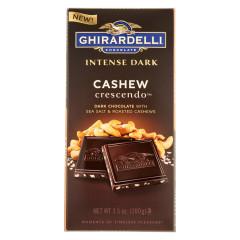 GHIRARDELLI INTENSE DARK CHOCOLATE CASHEW CRESCENDO 3.5 OZ BAR