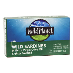 WILD PLANET WILD SARDINES IN EXTRA VIRGIN OLIVE OIL 4.4 OZ