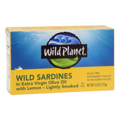 WILD PLANET WILD SARDINES IN EXTRA VIRGIN OLIVE OIL WITH LEMON 4.4 OZ