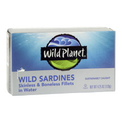 WILD PLANET SARDINES IN WATER SKINLESS BONELESS 4.25 OZ