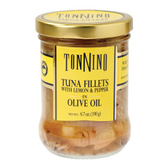 TONNINO TUNA FILLETS WITH LEMON AND PEPPER IN OLIVE OIL 6.7 OZ JAR