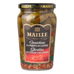 MAILLE CORNICHONS WITH CHILI PEPPERS 13.5 OZ JAR