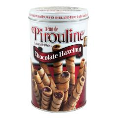 DEBEUK PIROULINE CHOCOLATE HAZELNUT ROLLED WAFERS 14 OZ TIN