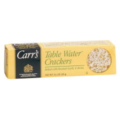 CARR'S ROASTED GARLIC & HERBS TABLE WATER CRACKERS 4.25 OZ BOX