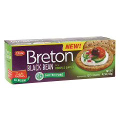 DARE BRETON GLUTEN FREE BLACK BEAN WITH ONION & GARLIC CRACKERS 4.2 OZ BOX