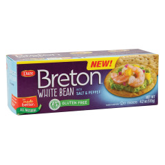 DARE BRETON GLUTEN FREE WHITE BEAN WITH SALT & PEPPER CRACKERS 4.2 OZ BOX