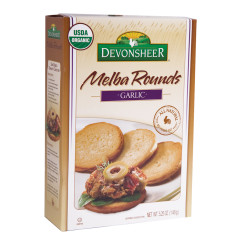 DEVONSHEER GARLIC MELBA ROUNDS 5.25 OZ BOX