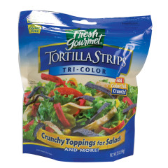 FRESH GOURMET TRI-COLOR TORTILLA STRIPS 3.5 OZ BAG