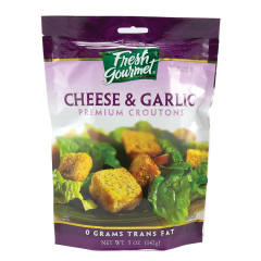 FRESH GOURMET CHEESE & GARLIC CROUTONS 5 OZ BAG