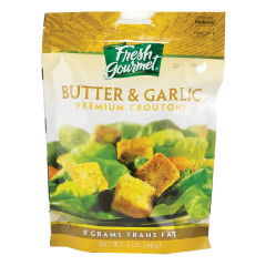 FRESH GOURMET BUTTER & GARLIC CROUTONS 5 OZ BAG