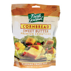 FRESH GOURMET SWEET BUTTER CORNBREAD CROUTONS 5 OZ BAG