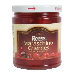REESE RED MARASCHINO CHERRIES WITH STEMS 10 OZ JAR
