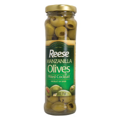 REESE MANZANILLA PITTED COCKTAIL OLIVES 2.5 OZ JAR