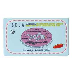 BELA MACKEREL IN ORGANIC EXTRA VIRGIN OLIVE OIL WITH PIRI PRI 4.25 OZ TIN