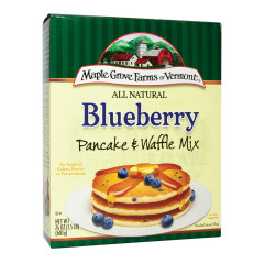 MAPLE GROVE FARMS ALL NATURAL BLUEBERRY PANCAKE & WAFFLE MIX 24 OZ BOX