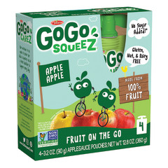 GOGO SQUEEZE APPLEAPPLE APPLESAUCE ON THE GO 4 PACK 3.2 OZ BOX