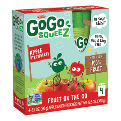 GOGO SQUEEZE APPLESTRAWBERRY APPLESAUCE ON THE GO 4 PACK 3.2 OZ BOX